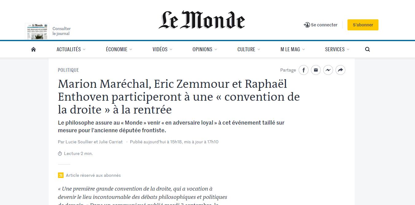 2019-09-03 20_56_17-Marion Maréchal, Eric Zemmour et Raphaël Enthoven participeront à une «conventi