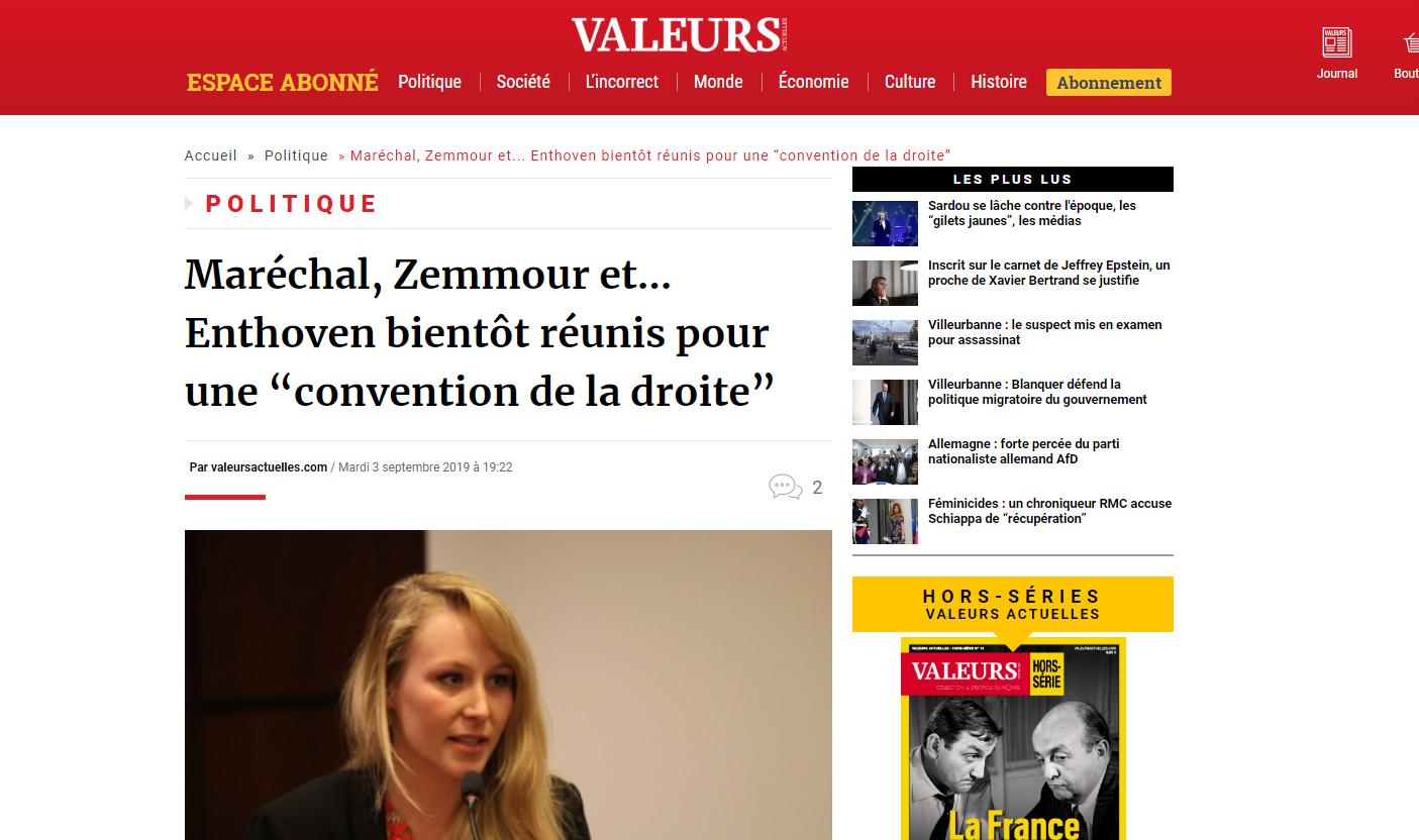 """2019-09-03 21_00_48-Maréchal, Zemmour et... Enthoven bientôt réunis pour une """"convention de la droit"""
