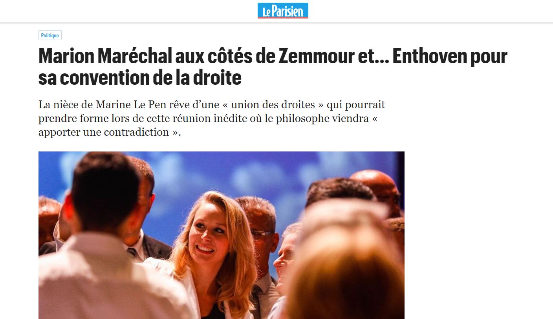 2019-09-03 21_06_27-Marion Maréchal aux côtés de Zemmour et… Enthoven pour sa convention de la droit