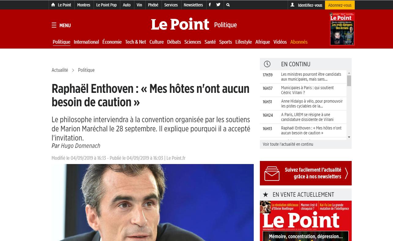 2019-09-04 17_47_37-Raphaël Enthoven_ «Mes hôtes n'ont aucun besoin de caution» - Le Point