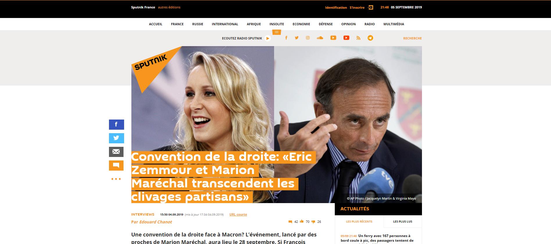 2019-09-05 21_49_42-Convention de la droite_ «Eric Zemmour et Marion Maréchal transcendent les cliva