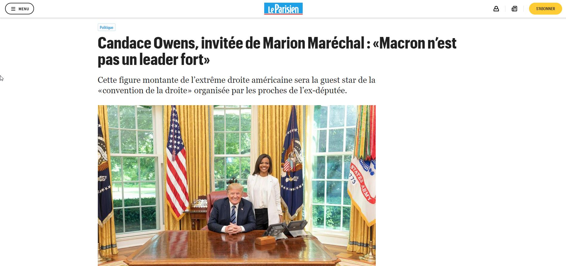 2019-09-23 10_09_19-Candace Owens, invitée de Marion Maréchal _ «Macron n'est pas un leader fort» -
